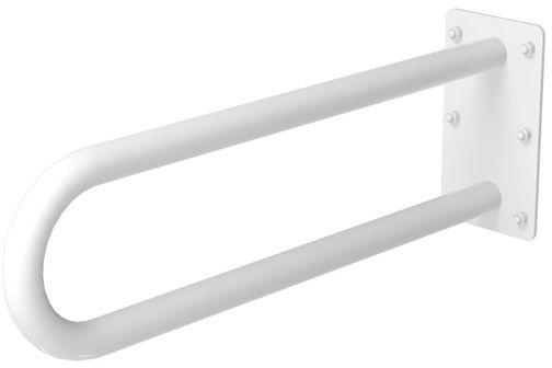 Uchwyt umywalkowy dla niepełnosprawnych stały na płytce fi 32 80 cm Faneco stal biała