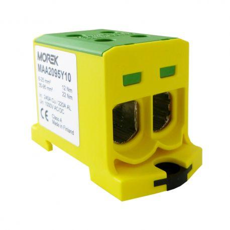 Złączka szynowa 6-95mm2 żółt-ziel. 4 otwor AL/CU TH35 1P MAA2095Y10 Morek 4139