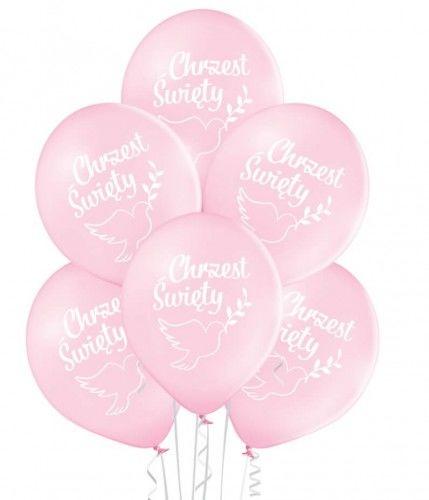 Balony na Chrzest Święty, różowe z gołąbkiem, 6 szt.