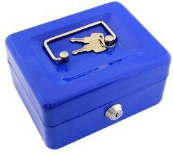 Kasetka na pieniądze mała 15x12x8 cm - niebieska