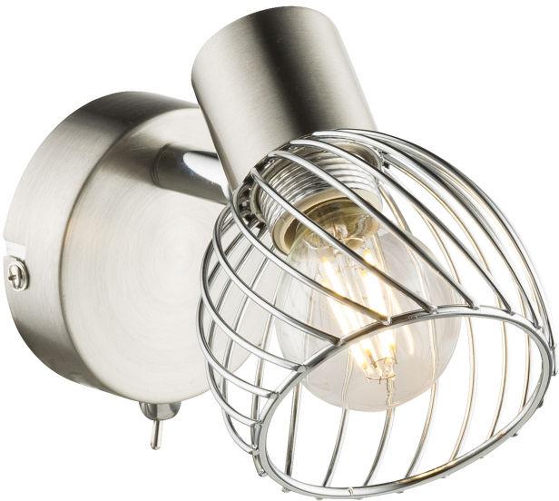 Globo TEXAS 54809-1 kinkiet lampa ścienna nikiel mat chrom 1xE14 40W 8cm