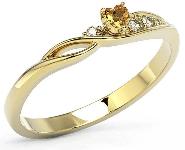 Pierścionek z żółtego złota z topazem swarovski honey i cyrkoniami bp-81z-top-hon/c