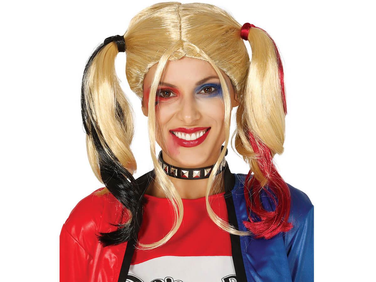 Peruka a''la Harley Quinn z kucykami