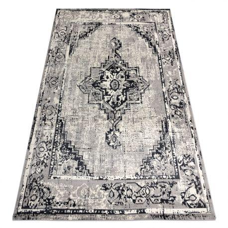 Dywan Vintage Ramka rozeta przecierany 22235556 szary / czarny 80x150 cm