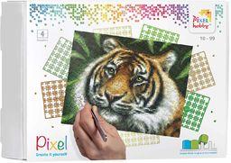 Pixel P090028 Mozaika opakowanie prezentowe Tygrys. Obraz pikseli około 25,4 x 20,3 cm do tworzenia dla dzieci i dorosłych, kolorowy