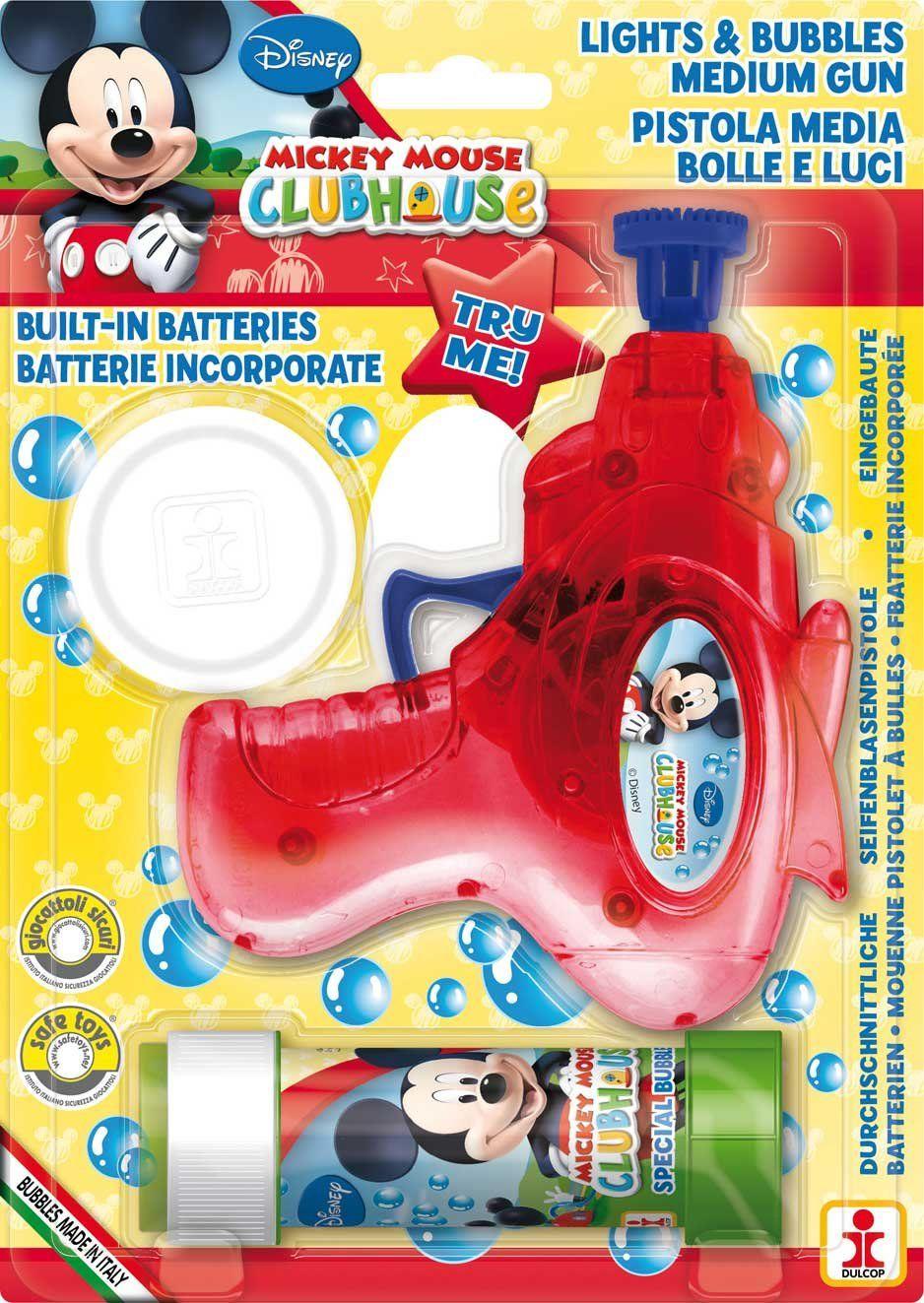 Mickey Mouse Dulcop 69500085500 pistolet do baniek mydlanych z gliny i światłem, 60 ml