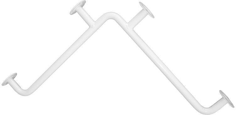 Uchwyt łazienkowy dla niepełnosprawnych kątowy fi 25 70 x 70 cm Faneco stal biała