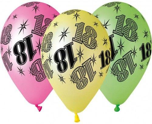 """Balony Premium 12"""" na 18 urodziny, fluorescencyjne kolory"""