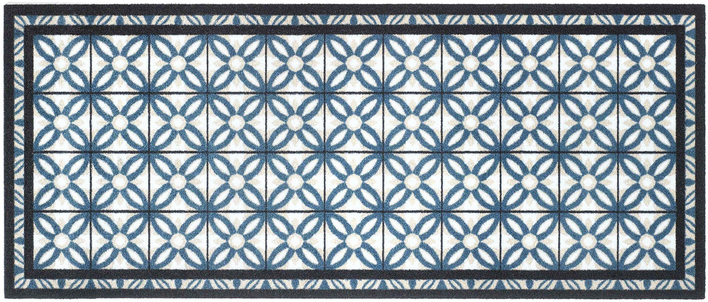 Wycieraczka, nadaje się do prania, modna, wielokolorowa, 100% poliamid, na winylu, w kratkę, niebieska, 50 x 120 cm
