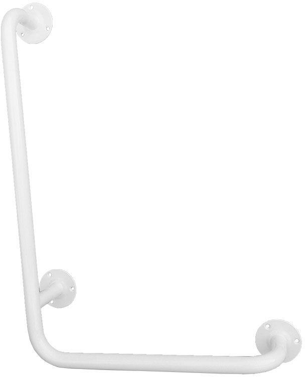Uchwyt do łazienki dla niepełnosprawnych kątowy lewy fi 25 80 x 40 cm Faneco stal biała