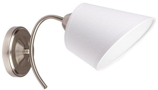 SPOTLIGHT kinkiet METTE Metal satyna Abażur tkanina biały, 8341127