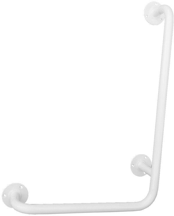 Uchwyt do łazienki dla niepełnosprawnych kątowy prawy fi 25 60 x 40 cm Faneco stal biała