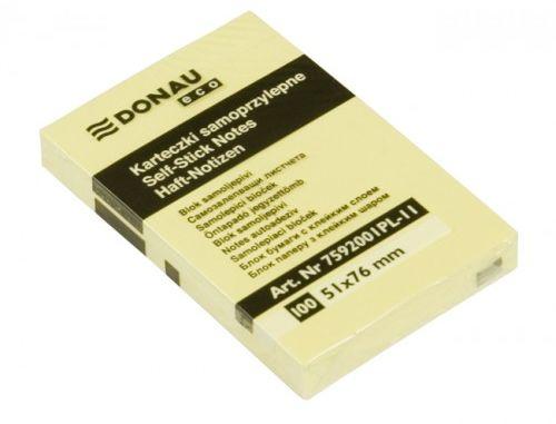 Karteczki samoprzylepne DONAU Eco 76x76 żółty 7593001PL-11