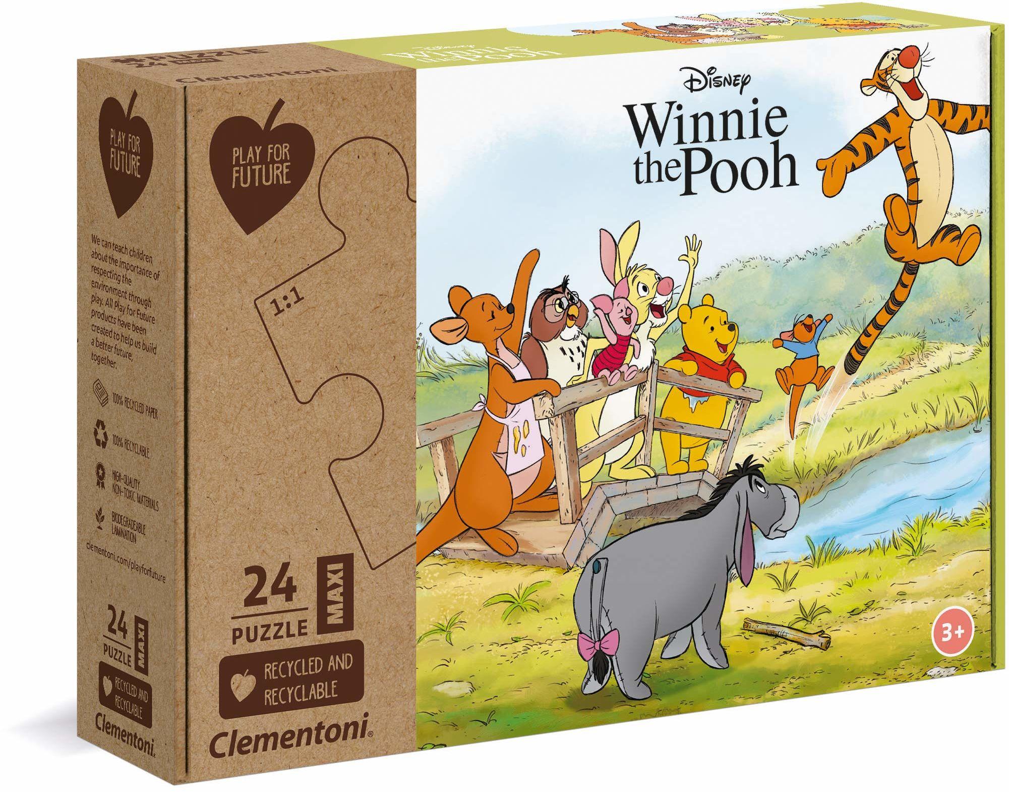 Clementoni 20259 Kubuś Puchatek  24 maksi  wyprodukowano we Włoszech  100% recyklingowane materiały, puzzle dla dzieci