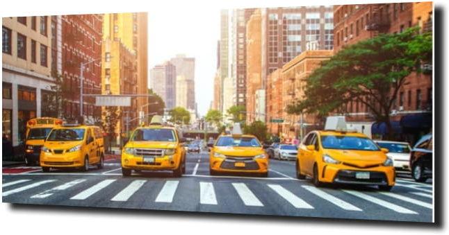 obraz na szkle Żółte taxi Nowy Jork
