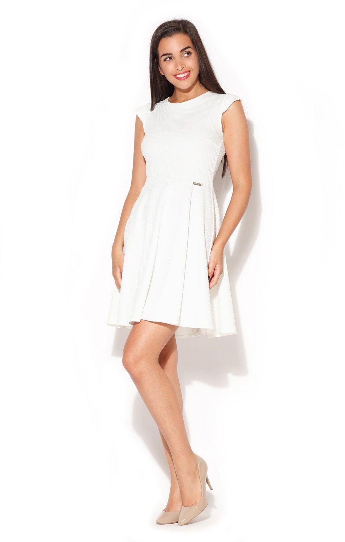 Ecru rozkloszowana sukienka z zakładkami