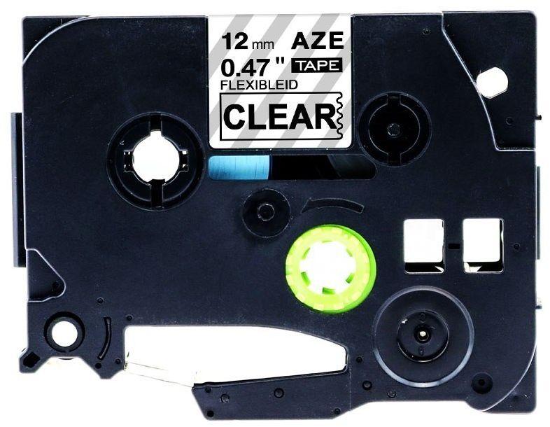 Taśma Brother TZe-FX131 Flexi Elastyczna 12mm x 8m przeźroczysta czarny nadruk - zamiennik OSZCZĘDZAJ DO 80% - ZADZWOŃ!