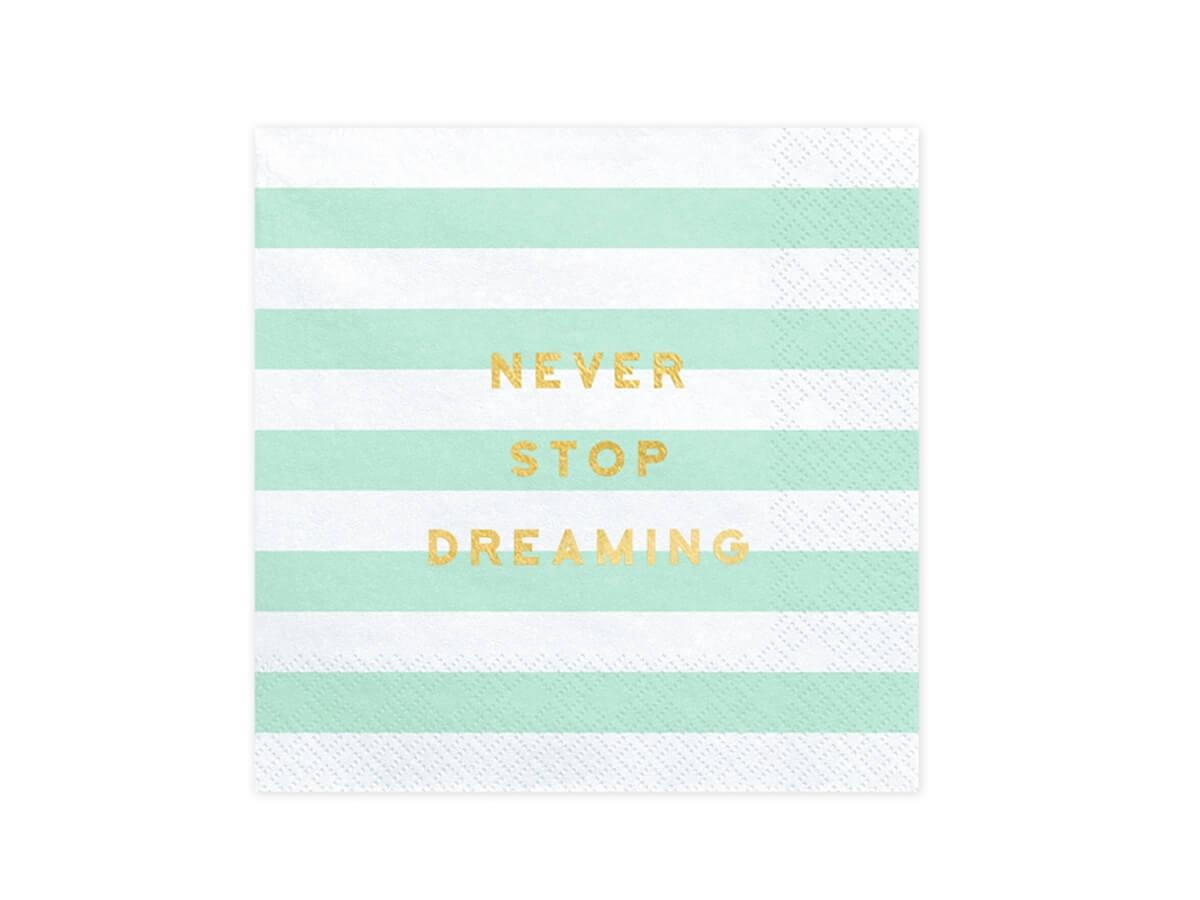 Serwetki Never Stop Dreaming miętowe paski - 33 cm - 20 szt.