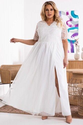 Sukienka ślubna long ekskluzywna z efektownym rozporkiem i koronkową górą MISISIPI ecru