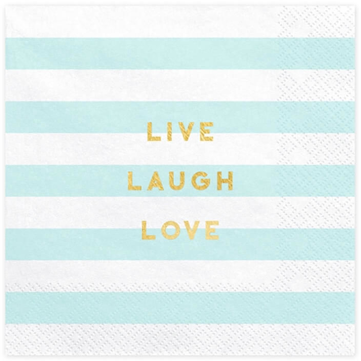 Serwetki Live Laugh Love błękitne paski - 33 cm - 20 szt.