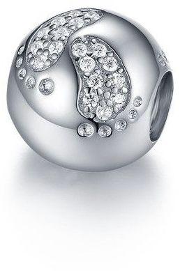 Rodowany srebrny charms do pandora dziecięce stópki nóżki cyrkonie srebro 925 GS075