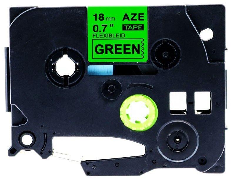 Taśma Brother TZe-FX741 Flexi Elastyczna 18mm x 8m zielona czarny nadruk - zamiennik OSZCZĘDZAJ DO 80% - ZADZWOŃ!