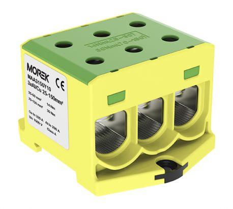 Złączka szynowa 25-150mm2 żół-ziel 6 otwor AL/CU TH35 1P MAA3150Y10 Morek 4368