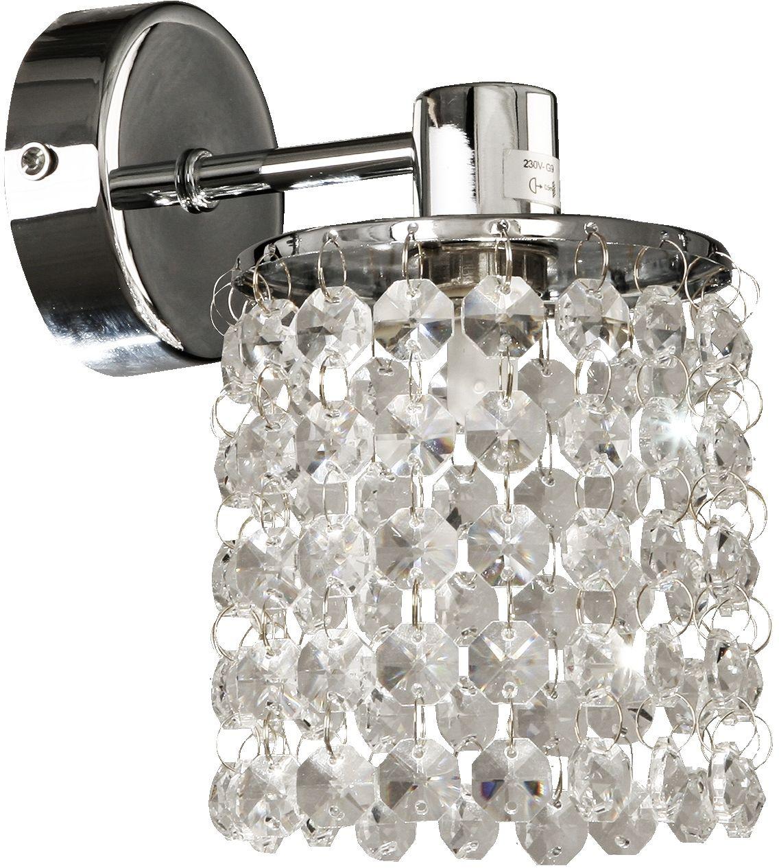 Candellux ROYAL 21-08421 kinkiet lampa ścienna chrom kryształki 1X40W G9