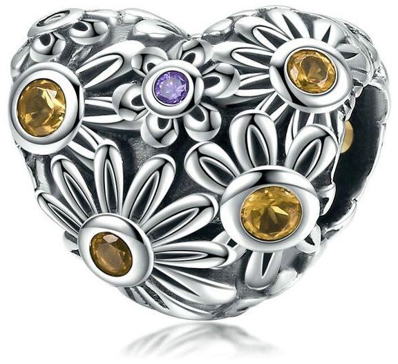 Rodowany srebrny charms do pandora serce heart kwiatki flowers cyrkonie srebro 925 BEAD150