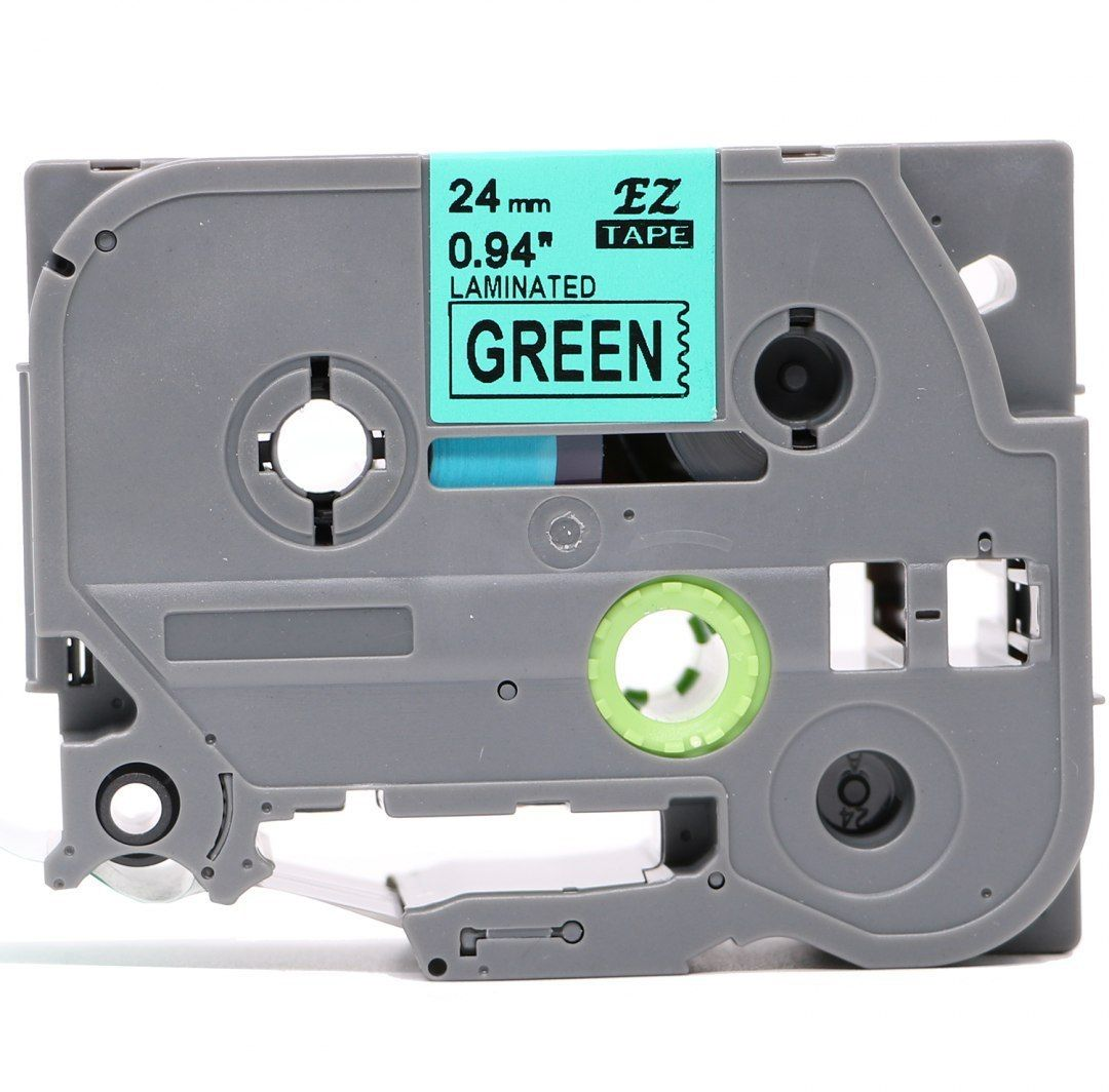 Taśma Brother TZe-FX751 Flexi Elastyczna 24mm x 8m zielona czarny nadruk - zamiennik OSZCZĘDZAJ DO 80% - ZADZWOŃ!