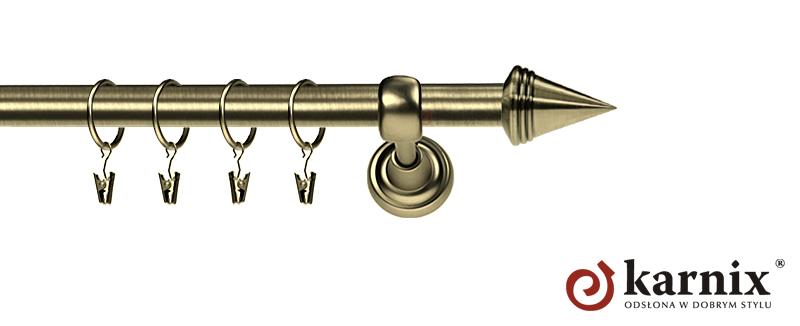 Karnisz Metalowy Rzymski pojedynczy 16mm Stożek antyk mosiądz