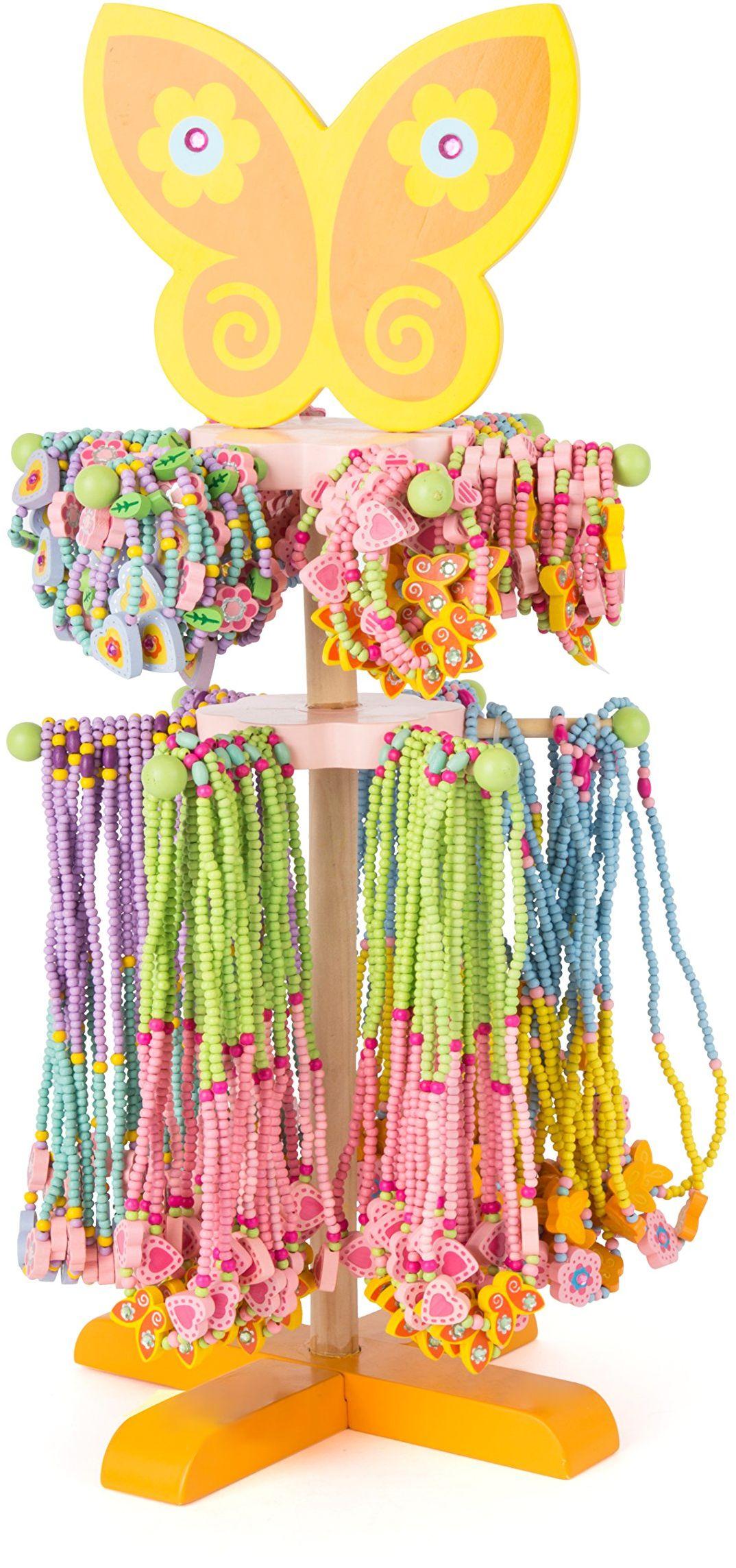 Mała stopa 10788 ekspozycja drewniana biżuteria wykonana z kolorowych koralików i błyszczących wisiorków, 36 naszyjników i bransoletek każda