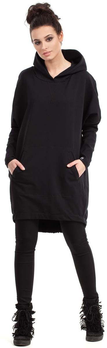 Czarna bluza - tunika z kapturem i kieszenią kangurką