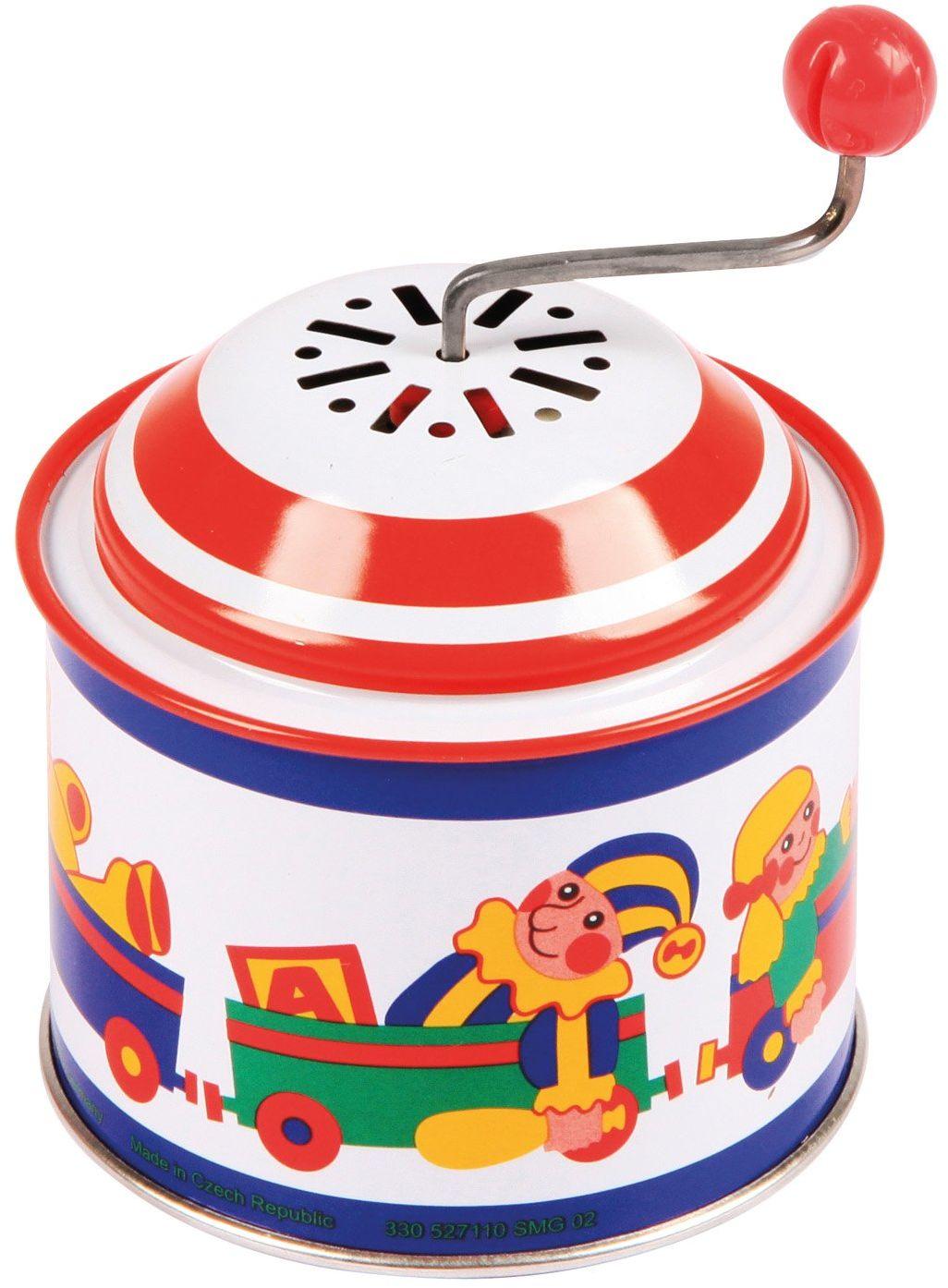 Lena 52756 uchwyt obrotowy ok. 10,5 x 7,5 cm, z melodią wiosną, puszka muzyczna, dla dzieci powyżej 18 miesięcy, z motywem pudełka na zabawki