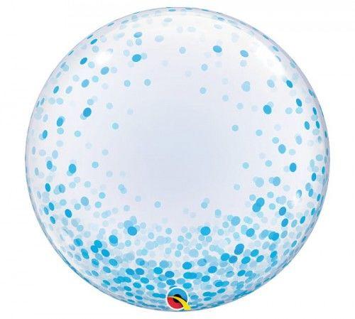 """Balon foliowy 24"""" Niebieskie Grochy"""
