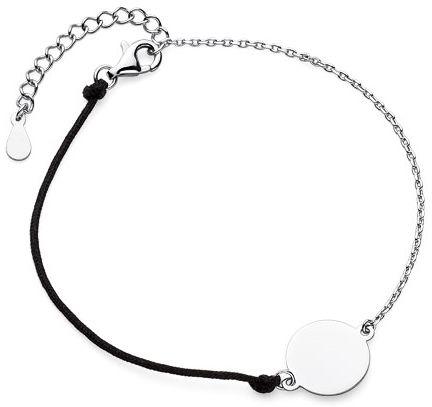 Bransoletka szczęścia celebrytka kółko kółeczko circle coin bawełna srebro 925 Z1655B_B