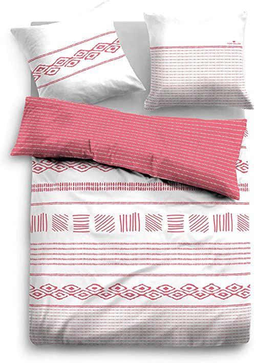 TOM TAILOR 0069906 komplet pościeli z poszewką na poduszkę, satyna, 1 x 155 x 220 cm + 1 x 80 x 80 cm, czereśnia
