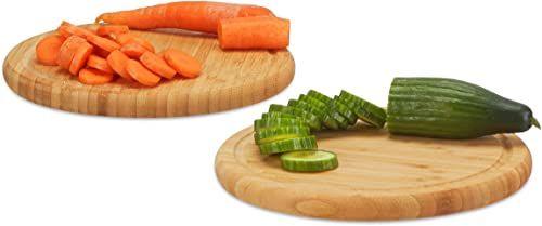 Relaxdays Deseczki śniadaniowe okrągłe zestaw 2 sztuk, bambus, 30 cm, deska kuchenna, łatwa w pielęgnacji, naturalna, nie uszkadzają noży, naturalne