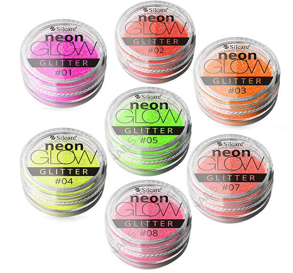 Silcare Neon Glow efekt syrenki Shimmer Nymph Brokat do paznokci, świeci w UV
