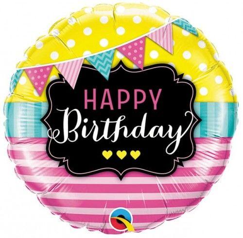 """Balon foliowy 18"""" Happy Birthday, różowe paski i flagi"""