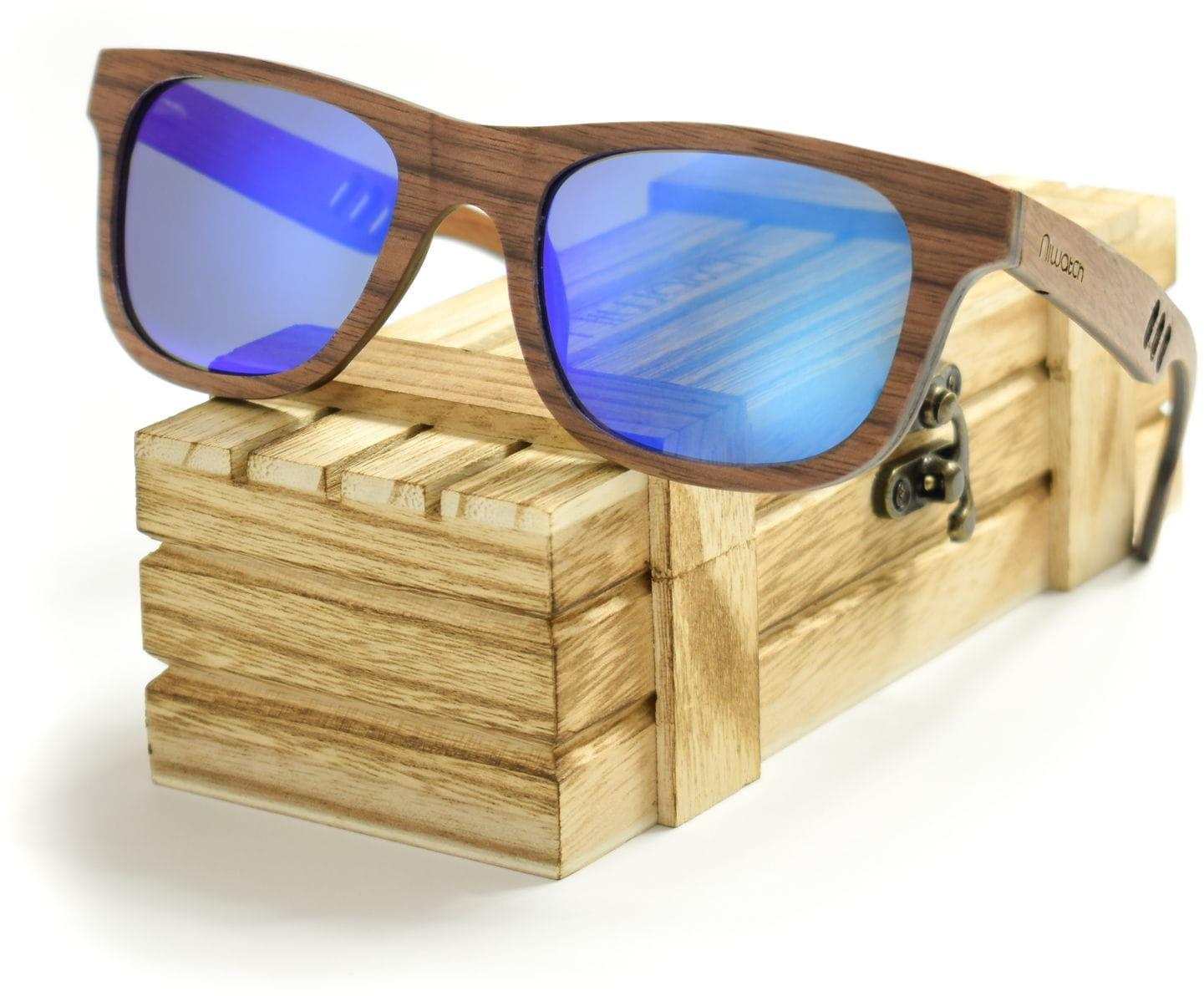 Drewniane okulary przeciwsłoneczne Niwatch Perseus Blue