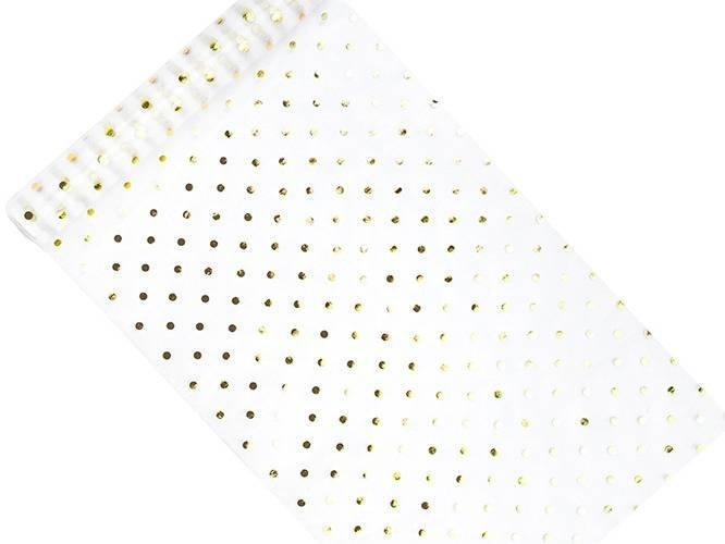 Organza biała ze złotymi kropkami - 36 cm x 9 m.