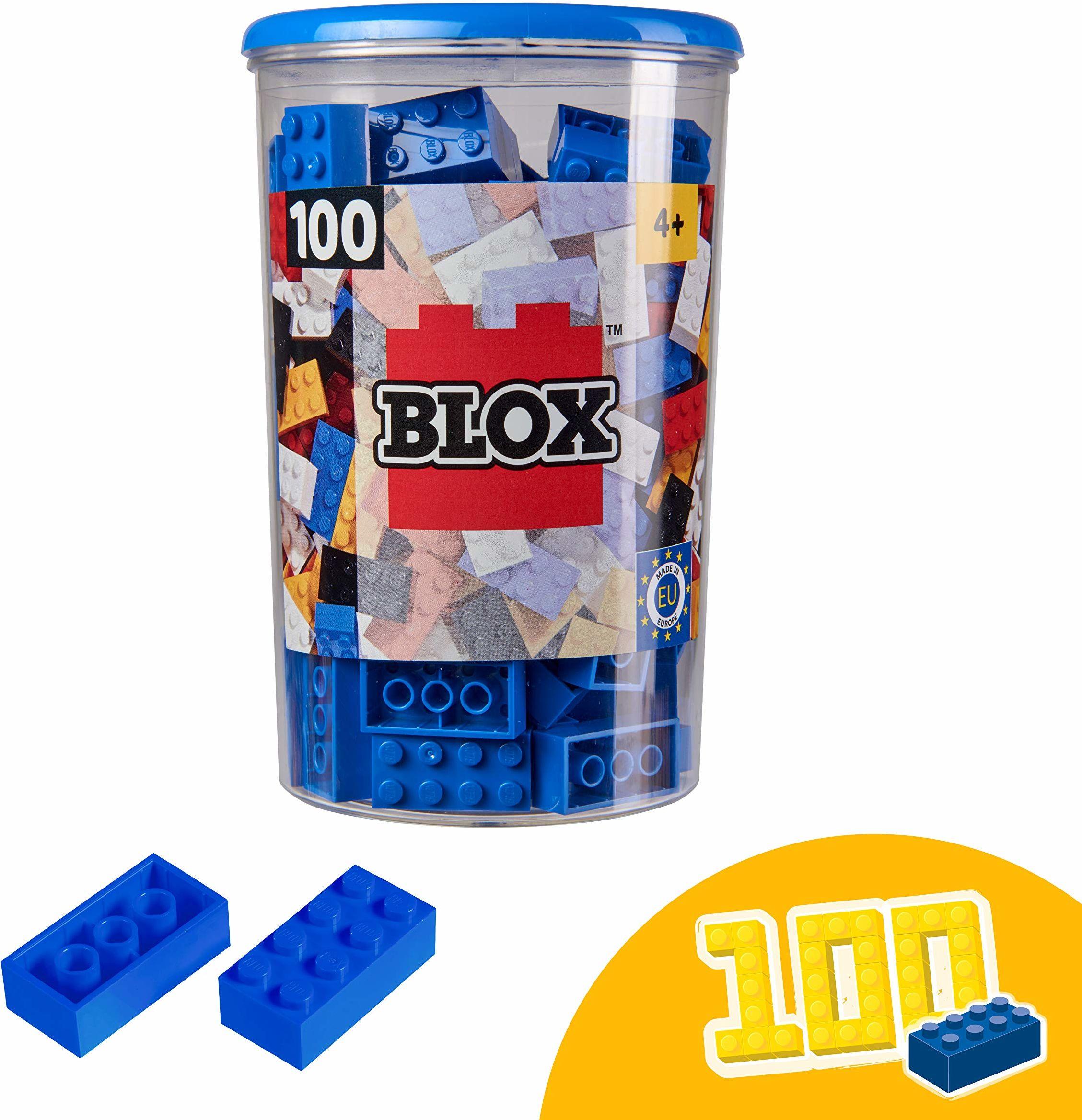 Simba 104118906, Blox, 100 niebieskich klocków dla dzieci od 3 lat, 8 kamieni, w zestawie puszka, wysoka jakość, w pełni kompatybilne z produktami innych producentów