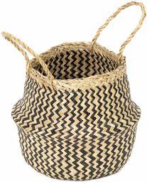 COMPACTOR RAN8408 kosz do przechowywania z ręcznie plecionej trawy morskiej, składany, z uchwytami, ciemne drewno, średnica: 27 cm, wysokość: 26 cm