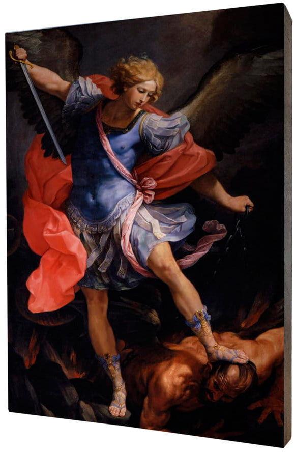 Obraz religijny na desce lipowej, Archanioł Michał