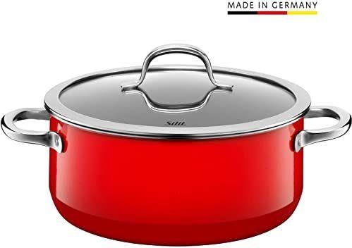 Silit Passion Red garnek do gotowania 24 cm, szklana pokrywka, garnek do smażenia 4,4 l, ceramika funkcyjna Silargan, garnek indukcyjny, czerwony