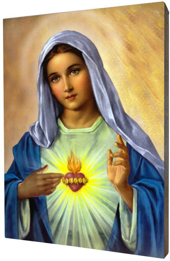 Obraz religijny na desce lipowej, Serce Maryi