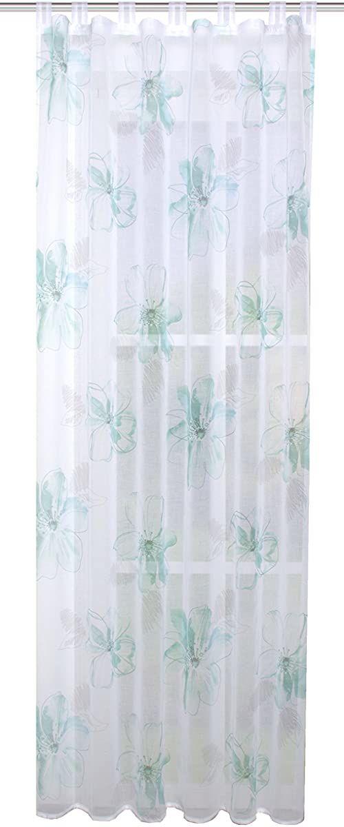 Home fashion Gotowy szal lniany z nadrukiem, tkanina, aqua, 245 x 140 cm