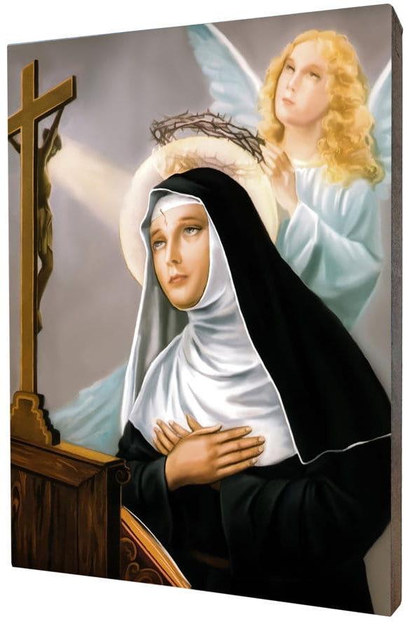 Obraz religijny na desce lipowej, święta Rita z Cascii