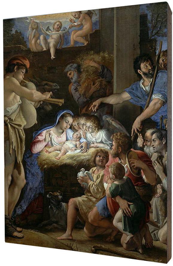 Obraz religijny na desce lipowej, Boże Narodzenie